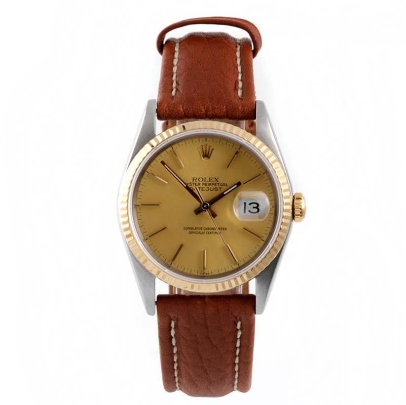 Rolex Mens 2tone Datejust - Leather Strap 16013