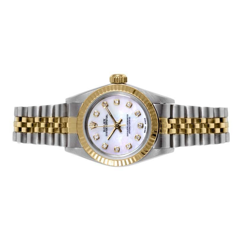 Rolex Ladies 2tone Oyster Perpetual - MOP Diamond Dial