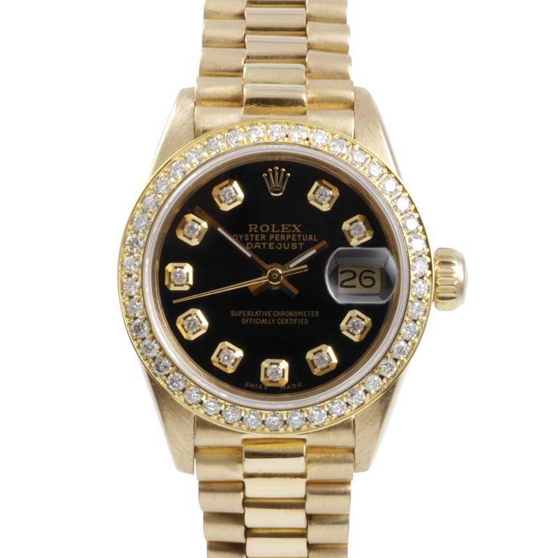 Rolex Ladies 18K Gold President - Diamond Dial/Bezel