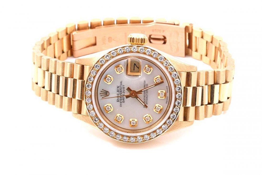 Rolex Ladies 18K President MOP Diamond Dial / Bezel