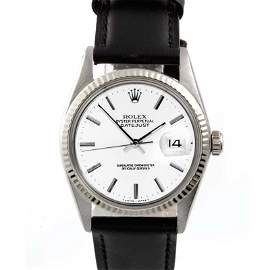 Rolex Mens 16014 Datejust - White Dial - Leather Strap