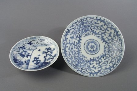 15: A CHINESE BLUE AND WHITE DISH, the circular taperin