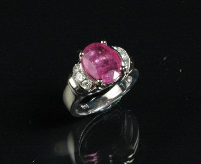 59: A 14K WHITE GOLD, RUBY and diamond lady's fashion r