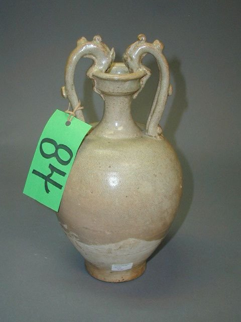 84: A YIN DYNASTY YUEYAO GLAZED vase of shouldered ovoi