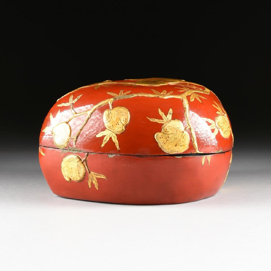 A CHINESE GILT DECORATED RED LACQUERED PAPIER MÂCHÉ