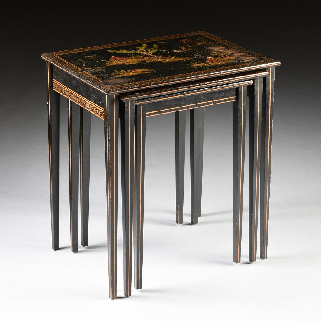 A SET OF THREE AMERICAN BLACK LACQUERED, GILT AND