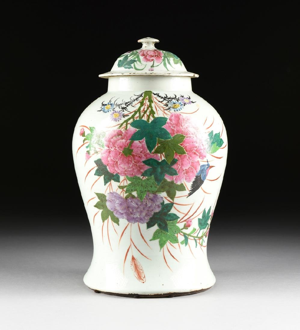 A CONTEMPORARY CHINESE EXPORT PAINTED PORCELAIN COVERED