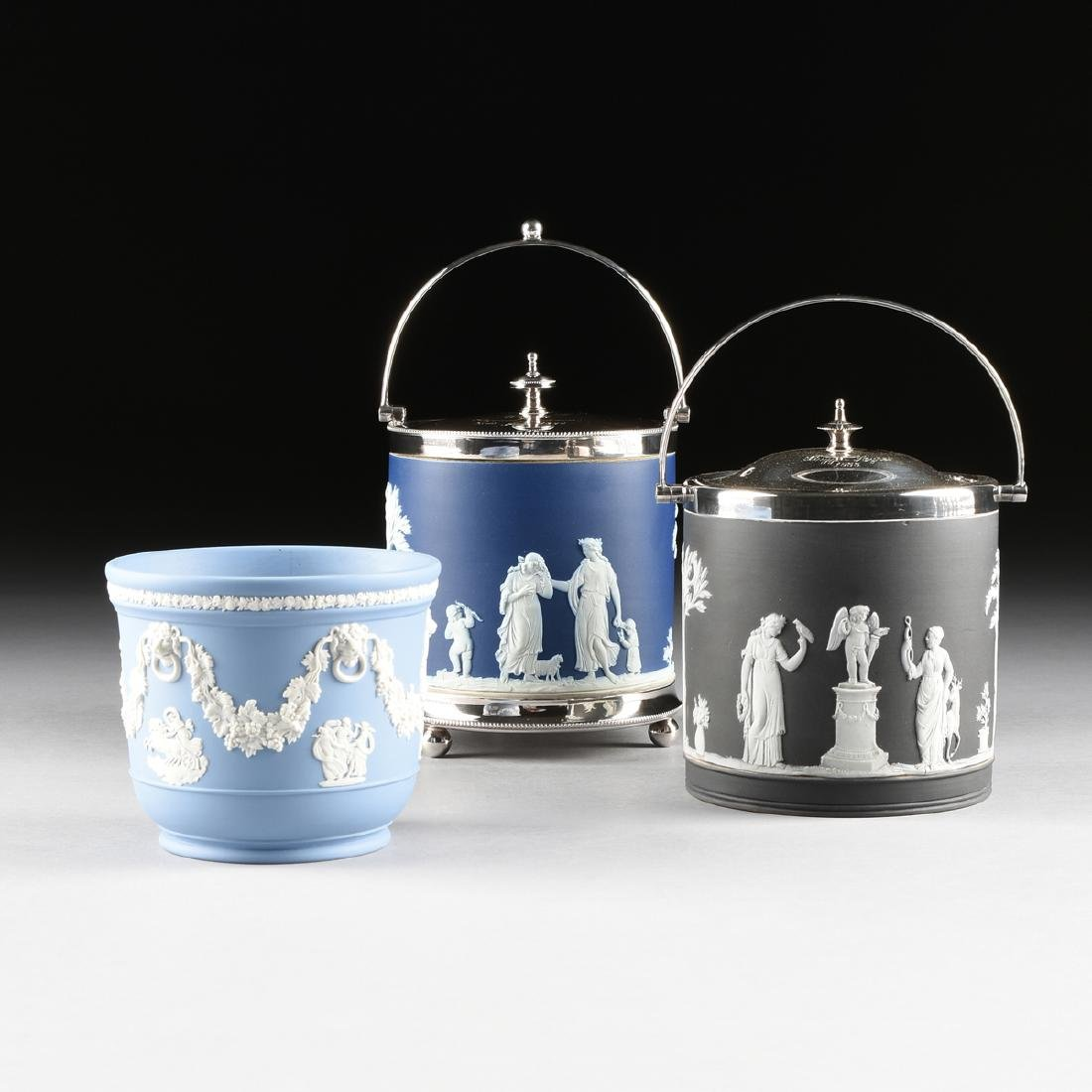 A GROUP OF THREE WEDGWOOD JASPERWARE CONTAINERS, CIRCA