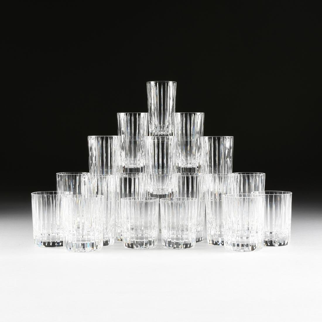 A GROUP OF EIGHTEEN BACCARAT CUT CLEAR CRYSTAL