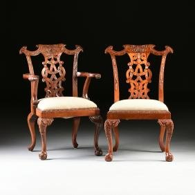 A Set Of Ten Rococo Chippendale Style Carved Mahogany