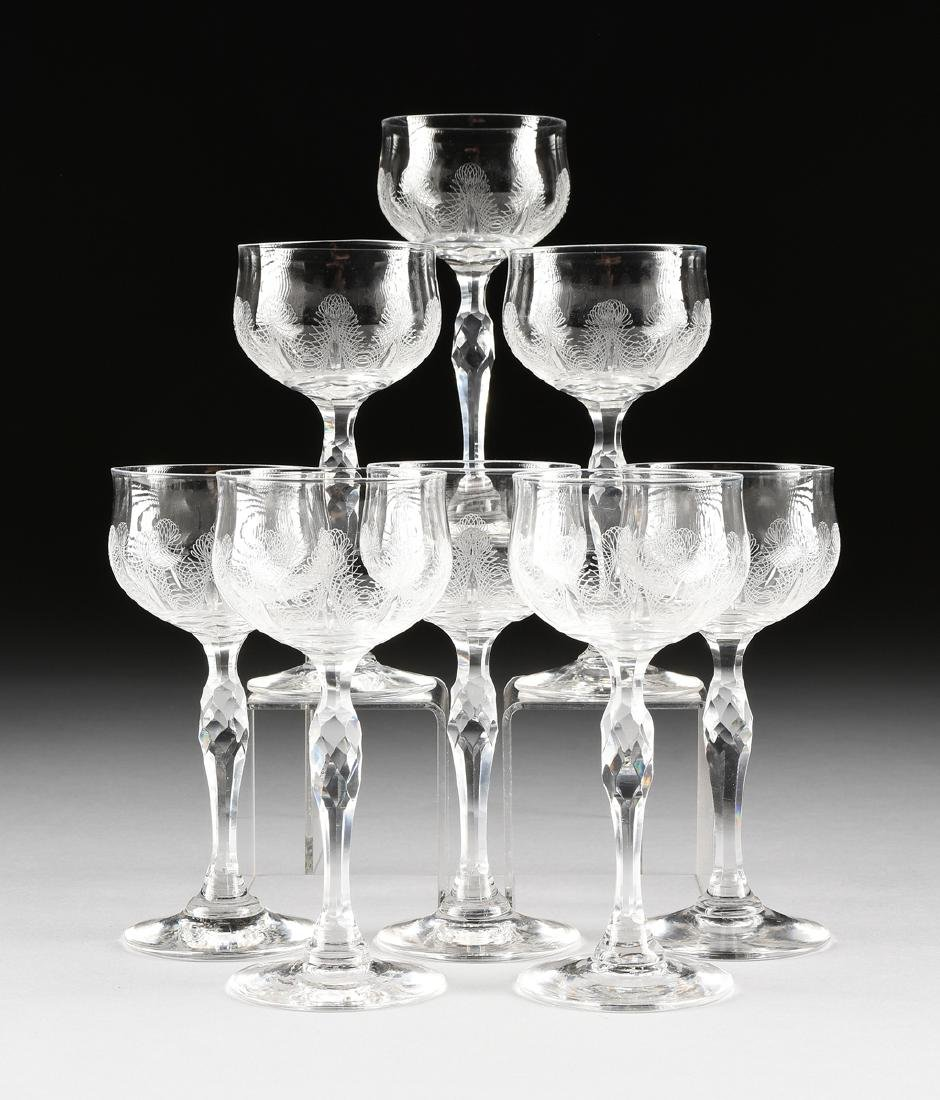A SET OF EIGHT AMERICAN CRYSTAL CLARET WINE STEMS,