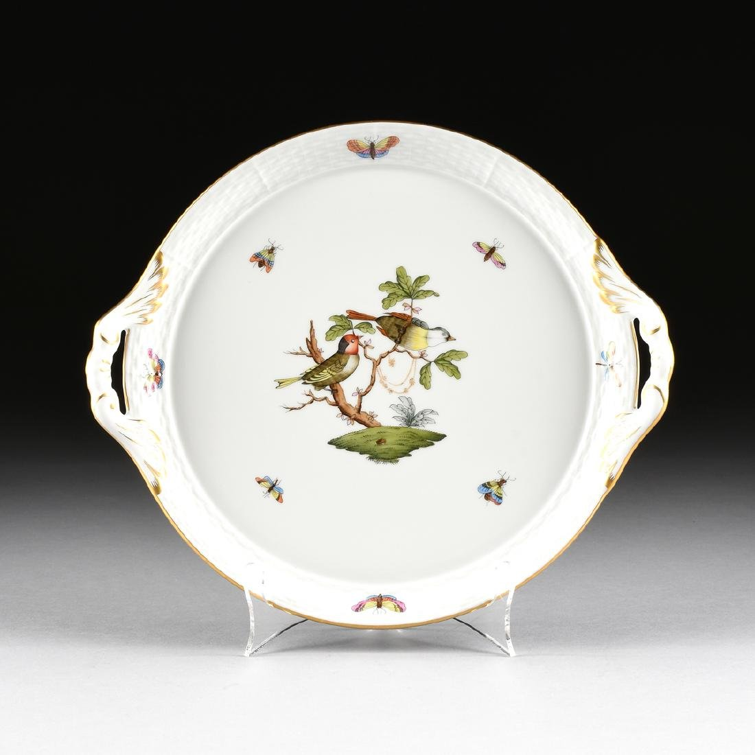 A HEREND POLYCHROME ENAMEL AND GILT DECORATED PORCELAIN