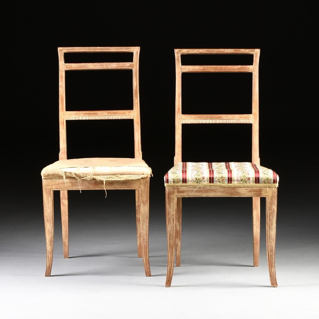 A PAIR OF FRENCH EMPIRE STYLE MAHOGANY SIDE CHAIRS,