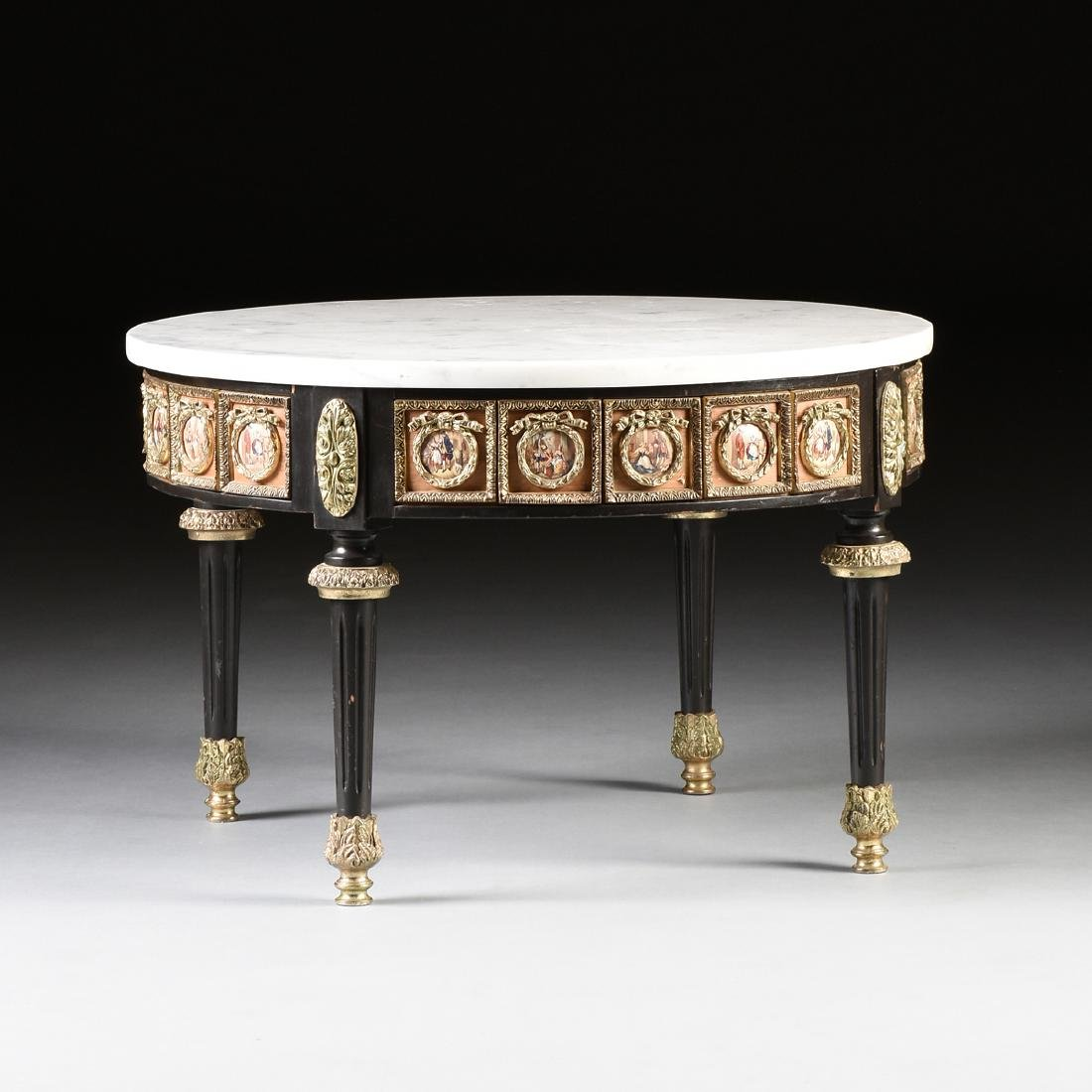 A LOUIS XVI STYLE GILT BRONZE AND TRANSFER PRINTED