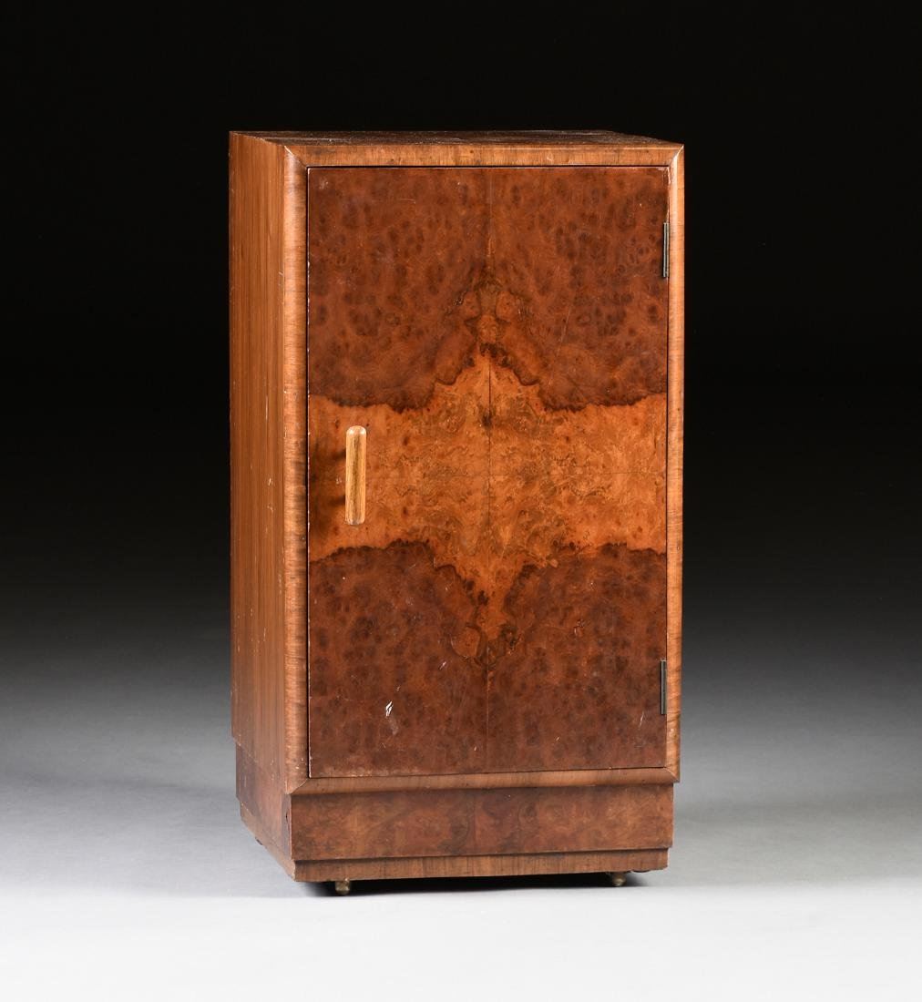 AN ENGLISH ART DECO WALNUT AND BURL WALNUT CABINET,