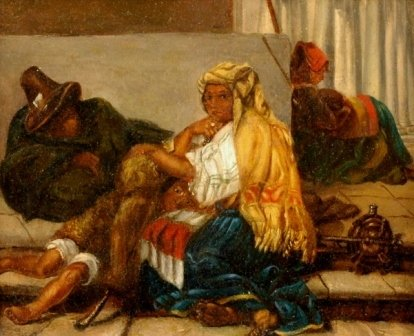"1015: FRENCH SCHOOL (19th Century) A painting, ""Resting"