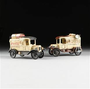 A GROUP OF TWO REPRODUCTION CAST IRON MODEL DELIVERY