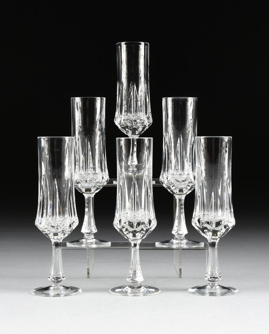 A SET OF SIX NACHTMANN CUT CRYSTAL CHAMPAGNE FLUTES IN