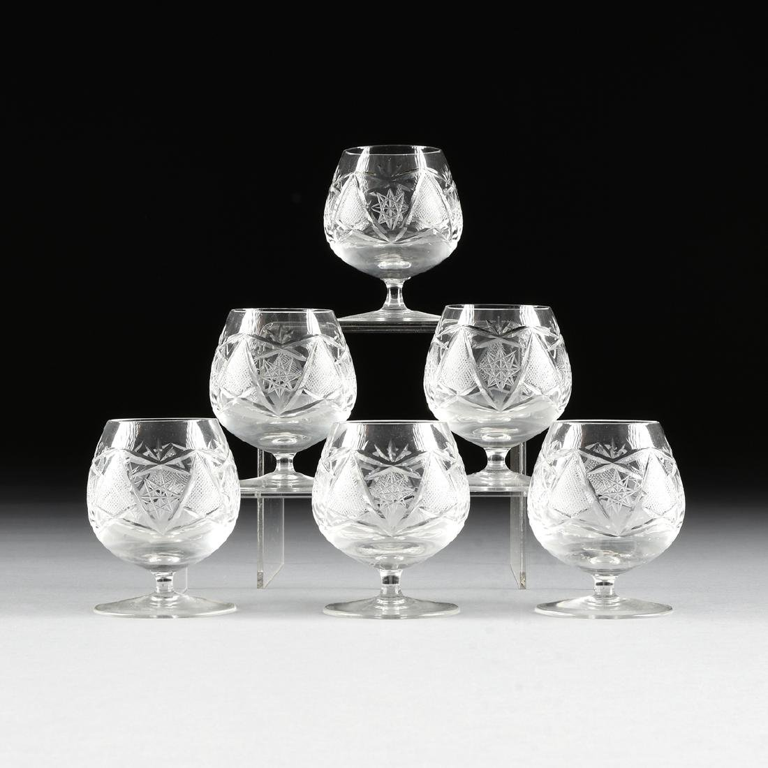 A SET OF SIX IMPERIAL CRYSTAL CUT CRYSTAL BRANDY