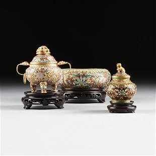 A GROUP OF THREE CHINESE CLOISONN� DECORATED GILT