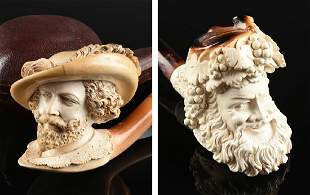 A GROUP OF TWO CARVED MEERSCHAUM PIPES, TURKEY,