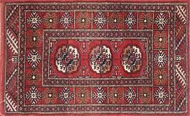A TURKMEN HAND WOVEN WOOL TEKKE BOKHARA SMALL RUG,