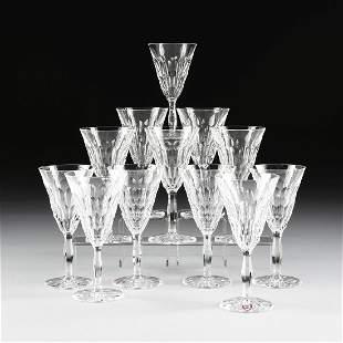 A SET OF TWELVE ORREFORS CUT CRYSTAL CLARET WINE