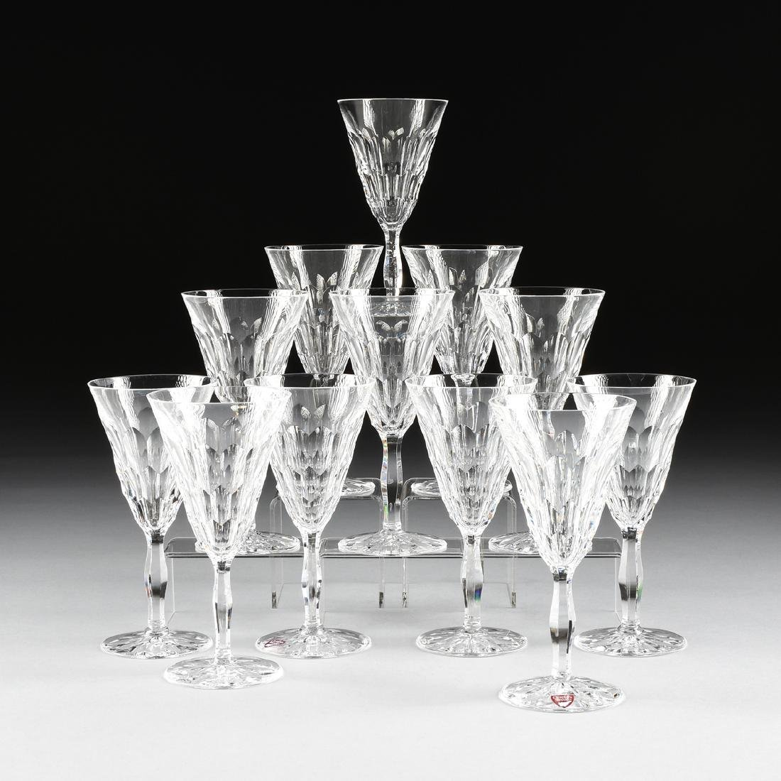 A SET OF TWELVE ORREFORS CUT CRYSTAL CLARET WINE