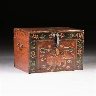 A CHINESE LACQUERED TEAKWOOD HINGED BOX, LATE