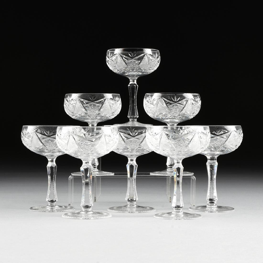 A SET OF EIGHT IMPERIAL CRYSTAL CUT CRYSTAL CHAMPAGNE