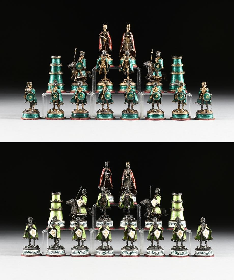 A GEM MOUNTED SILVER, SILVER GILT, AND ENAMEL CHESS SET