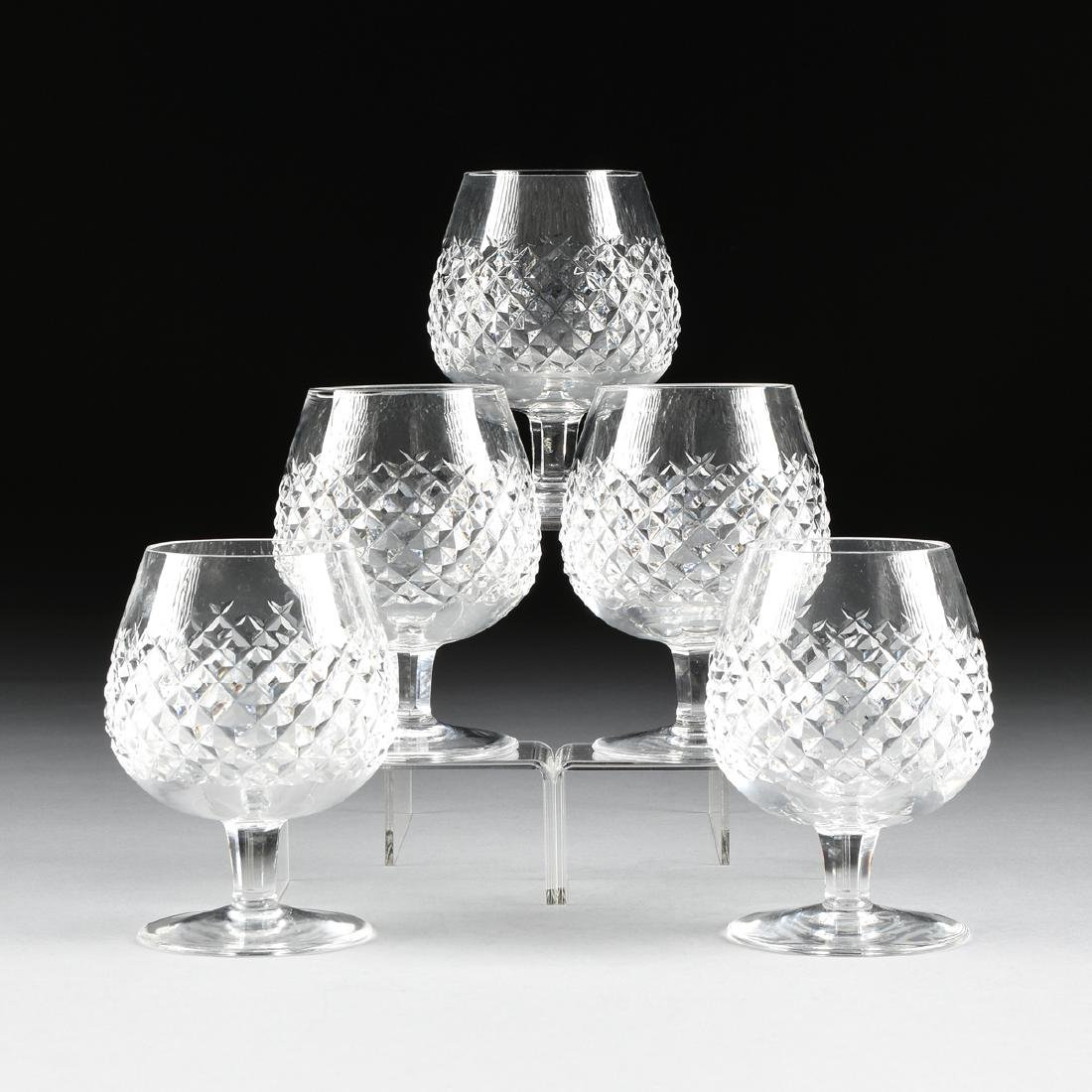 A SET OF FIVE WATERFORD CUT CRYSTAL BRANDY SNIFTERS IN