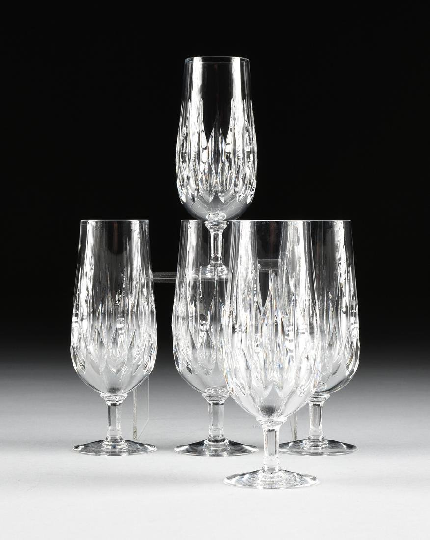 A SET OF FIVE GORHAM CUT CRYSTAL CHAMPAGNE FLUTES IN