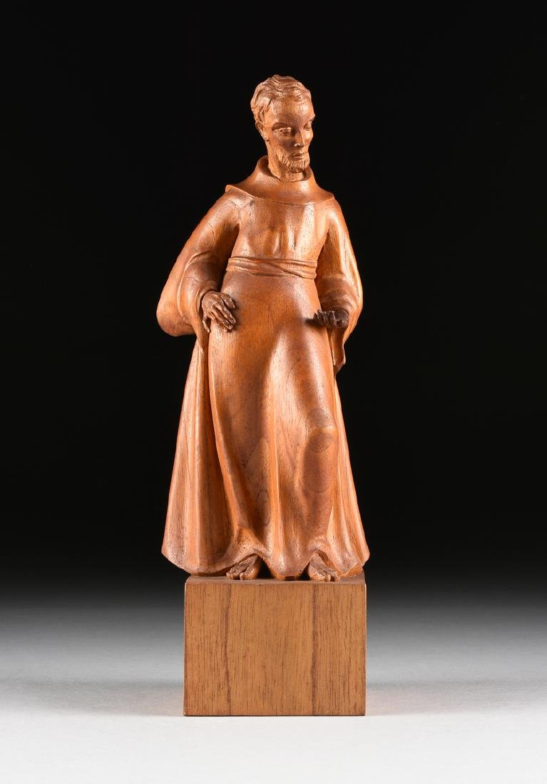 A MODERN CARVED MAHOGANY SANTO SCULPTURE OF SAINT