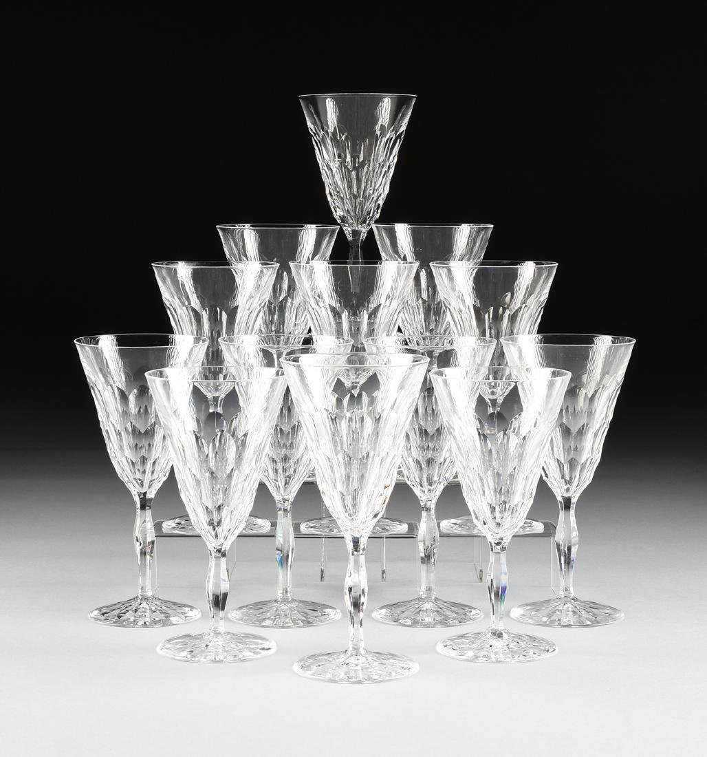 A SET OF THIRTEEN ORREFORS CUT CRYSTAL WATER GOBLETS IN