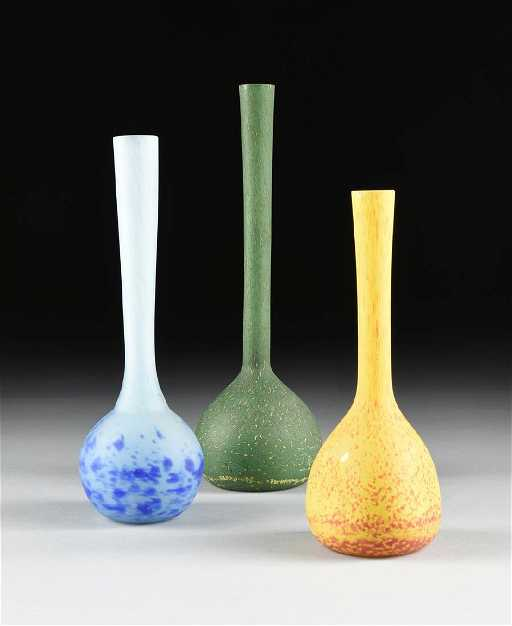 A Group Of Three Italian Hand Blown Cased Glass Vases