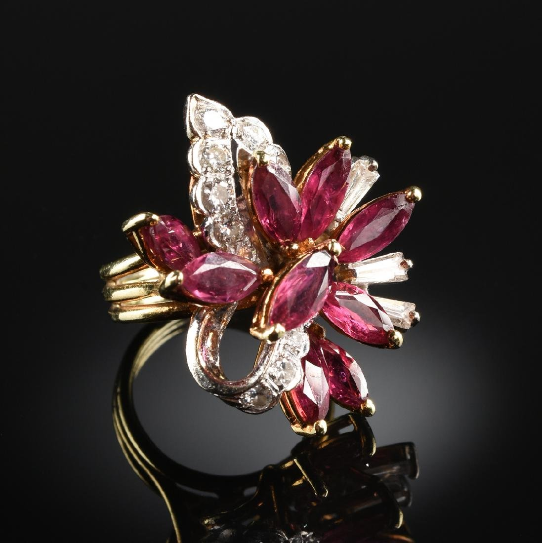 AN 18K TWO TONE GOLD, RUBY, AND DIAMOND LADY'S DINNER
