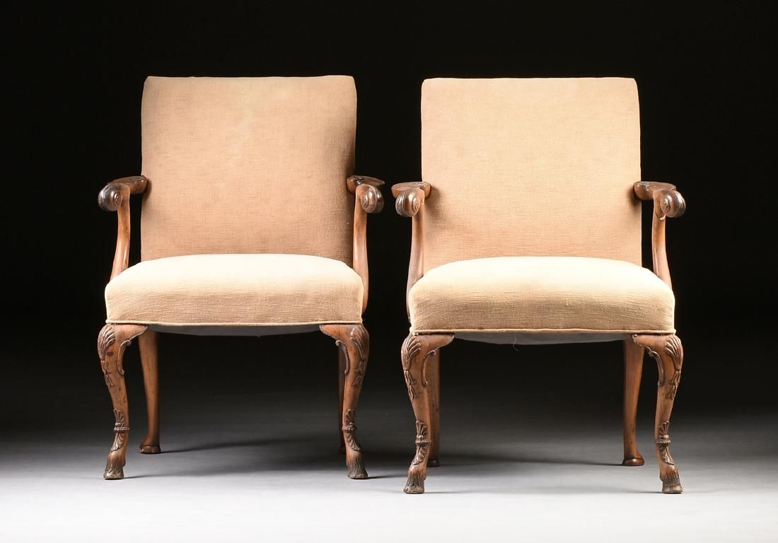 A PAIR OF GEORGE III BLACK WALNUT UPHOLSTERED OPEN