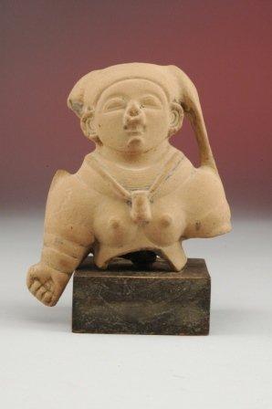 4: A MAYAN FEMALE TORSO with large headdress, wearing a