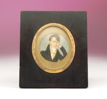 19: A 19TH CENTURY CONTINENTAL MINIATURE PORTRAIT ON IV