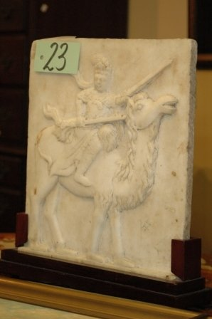 23: AN ASIAN WHITE MARBLE RELIEF of rectangular form de