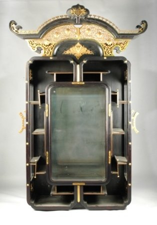 401: A JAPANESE EBONY AND GILT-BRONZE MOUNTED DISPLAY C