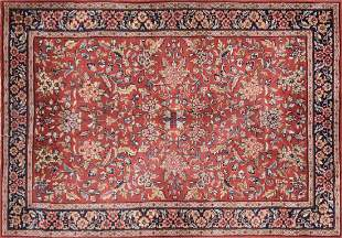 A SAROUK STYLE HAND KNOTTED WOOL RUG, INDIAN, MODERN,