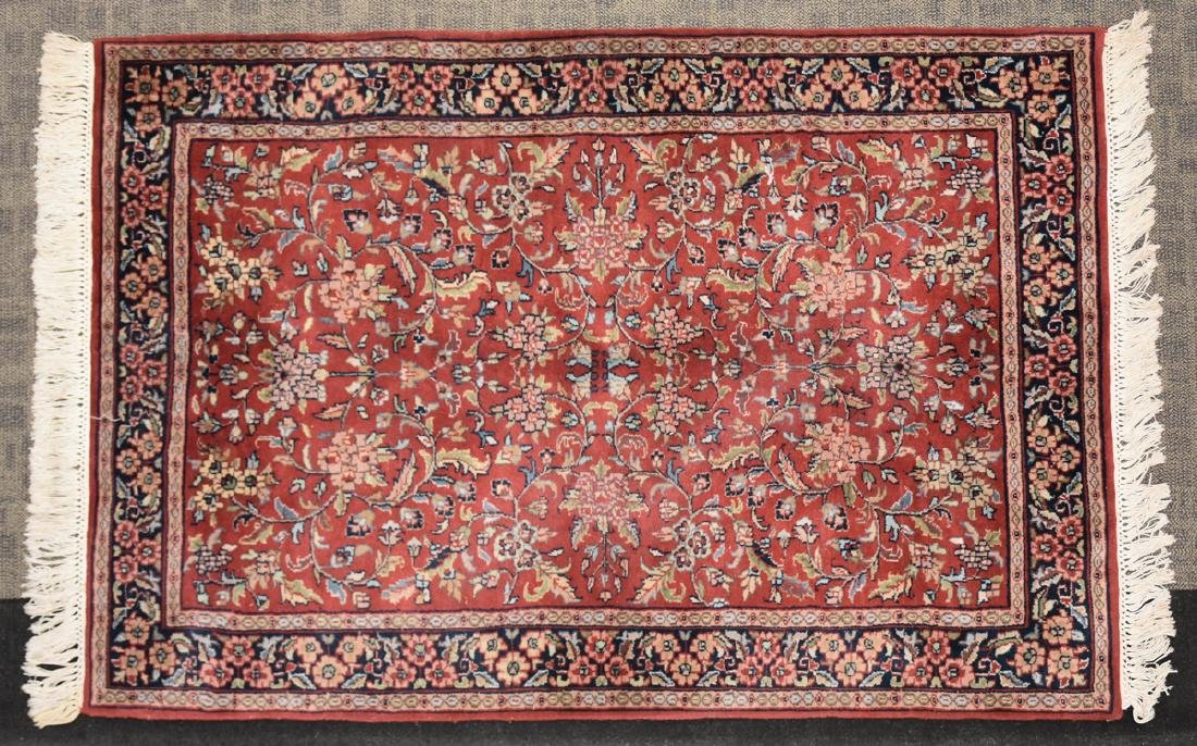 A SAROUK STYLE HAND KNOTTED WOOL RUG, INDIAN, MODERN, - 2