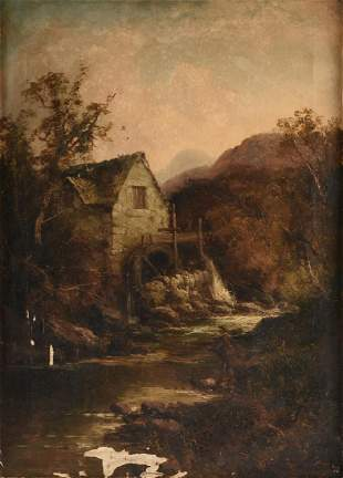 """TOM SEYMOUR (English 1844-1904) A PAINTING, """"Watermill,"""