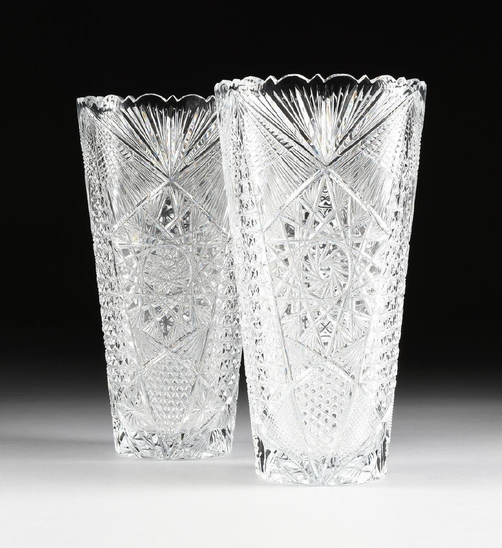 A NEAR PAIR OF AMERICAN BRILLIANT CUT GLASS WHEAT