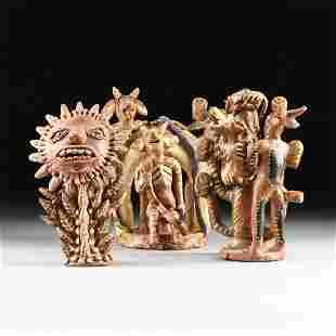 A GROUP OF THREE MEXICAN GLAZED TERRA COTTA FOLK ART