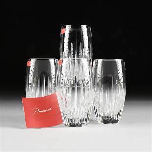 A SET OF FOUR CASED BACCARAT CUT CRYSTAL HIGH BALL