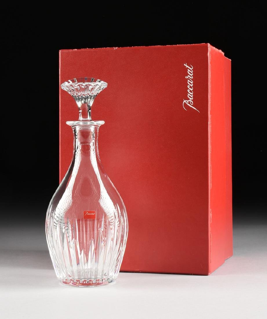 A CASED BACCARAT CUT GLASS DECANTER WITH STOPPER IN THE - 6