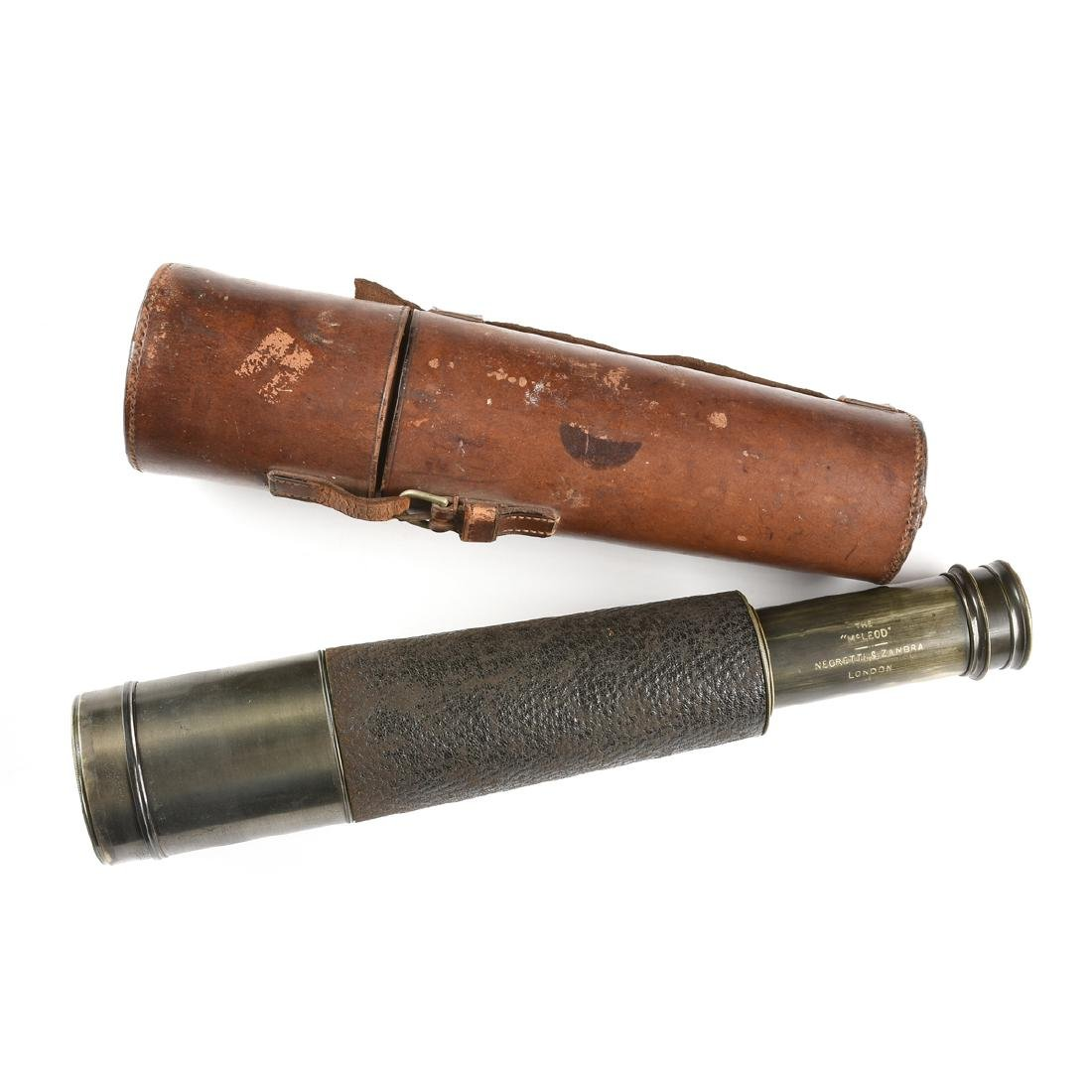 "A NEGRETTI & ZAMBRA DEER STALKING BRASS TELESCOPE, ""THE"